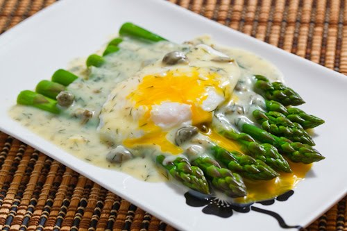 eggs poached eggs with asparagus break egg into cup a poached egg ...